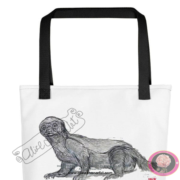 "Jamba, the Honey Badger, Wildlife/ Animal Art 15""x15"" Tote Bag, Made in USA/ Europe - alicechanart"