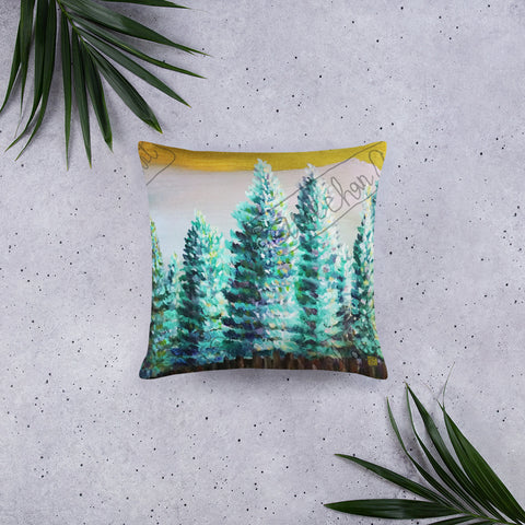 """Trees in Golden Sky"", Pine Trees Mountain Designer Basic Pillow 18""x18""/ 20""x12"", Made in USA - alicechanart"