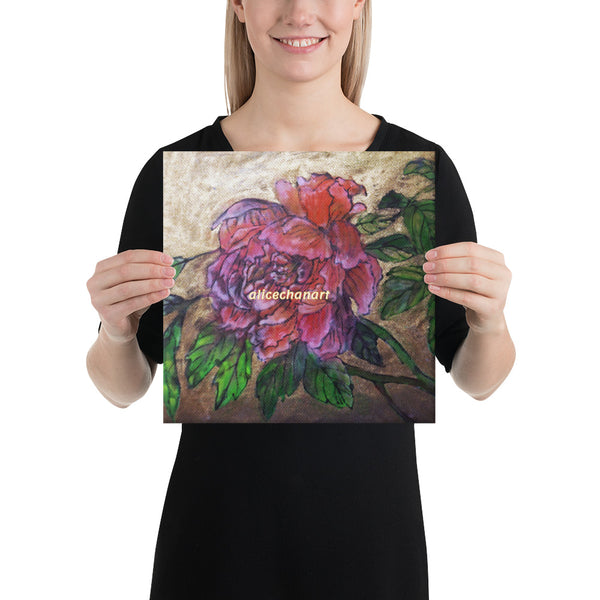 Pink Peony Chinese Art Canvas Art Print, 2019, Made in USA