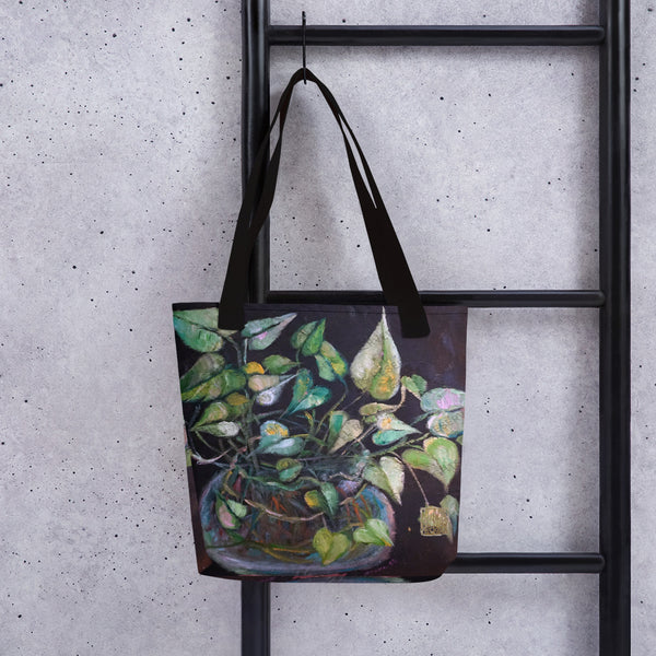 "Golden Pothos Green Leaves Indoor Plant Art Print 15''x15"" Tote Bag- Made in USA - alicechanart"
