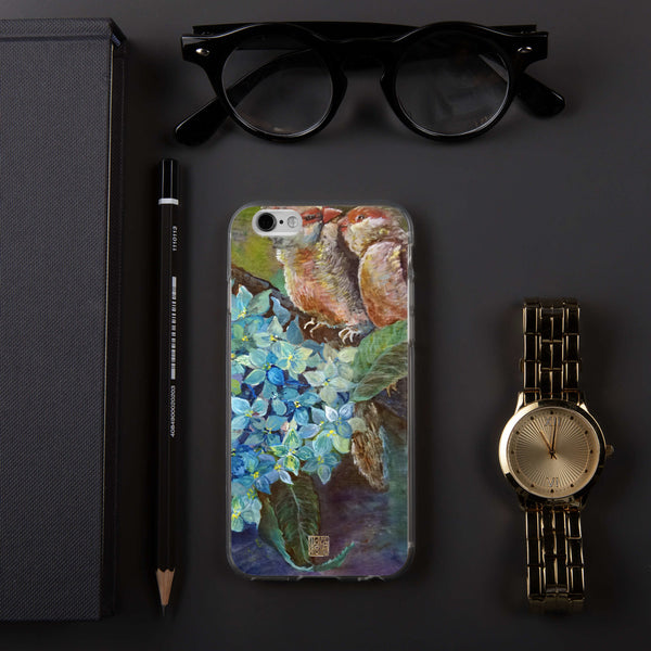 """Morning Chirping Bird"", Wildlife Hydrangea Floral Print iPhone Case, Made in USA - alicechanart"