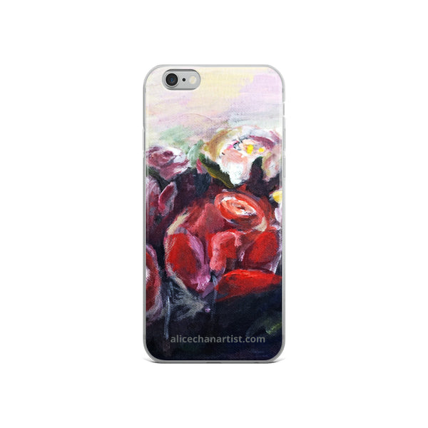 """French Red Roses"", Floral Print, iPhone 7/6/7+/ 6/6s/ X/XS/ XS Max/XR Case, Made in USA - alicechanart"
