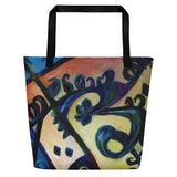 """Red Rose Abstraction of Strength in Arabic"", Abstract Art 16""x20"" Large Beach Bag - alicechanart"