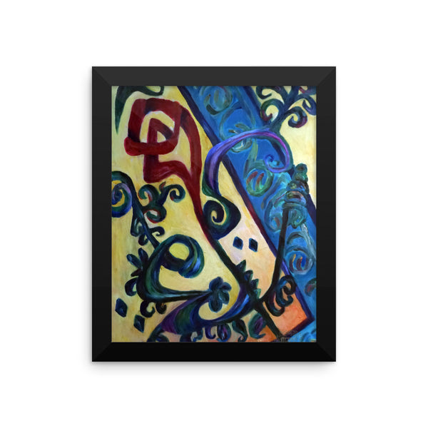 """Red Rose Abstraction of Strength in Arabic"", Framed poster"