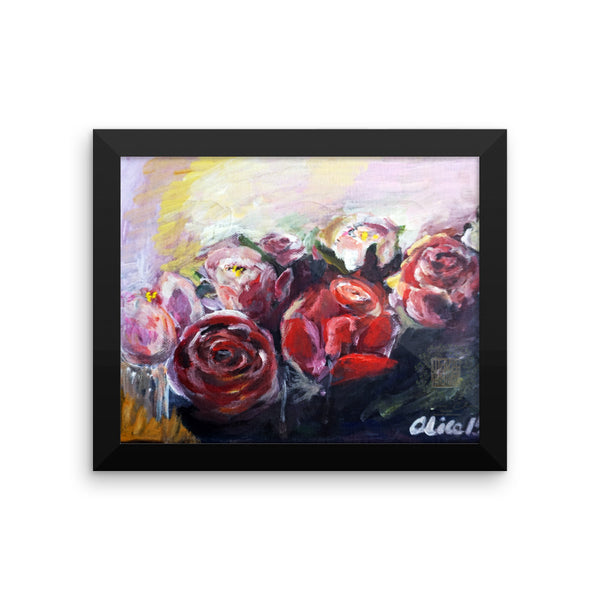 """French Roses"", Floral Rose Framed Poster Art Print, Made in USA - alicechanart"