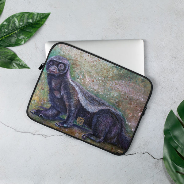 "Jambo, Honey Badger, Animal Designer 13""/ 15"" Laptop Sleeve Case- 13""/15"" Snug Fit Stylish Art Laptop Sleeve-Printed in USA/ Europe"