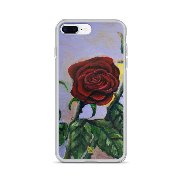 Red Rose in Purple Sky, Floral Print iPhone Case for iPhone Case, Made in USA - alicechanart Red Rose iPhone Case,Red Rose in Purple Sky, Floral Print iPhone Case for  iPhone 7/6/7+/ 6/6s/ X/XS/ XS Max/XR/ 11/ 11 Pro/ 11 Pro Max Phone Case, Made in USA/EU