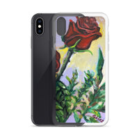 Summer Red Rose in Purple Sky, Floral  iPhone 7/6/7+/ 6 / 6s/ X/XS/ XS Max/XR Case, Made in USA - alicechanart