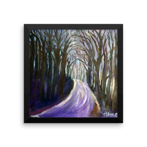 """Purple Hiking Trail"", Mountain Landscape, Framed Poster Art Print - alicechanart"