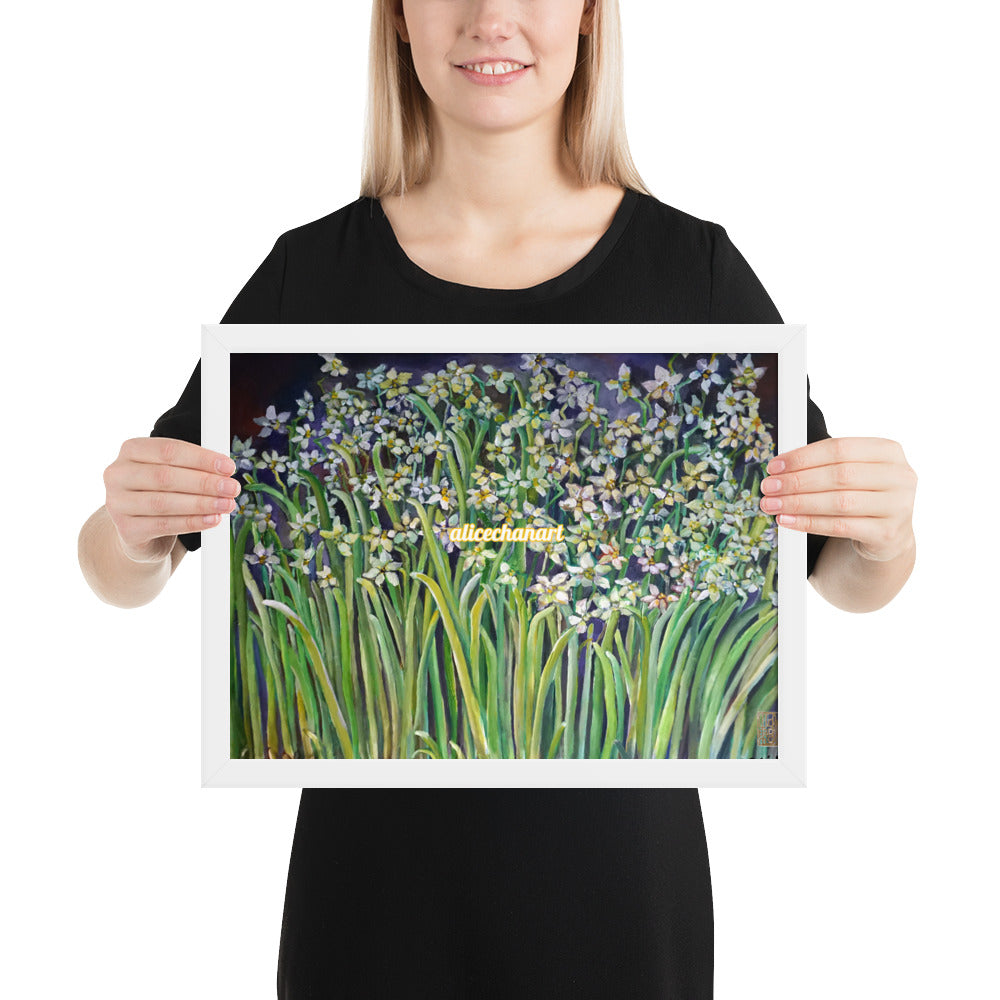Narcissus Water Lilies, 2015, Framed Art Print Poster, Made in USA - alicechanart