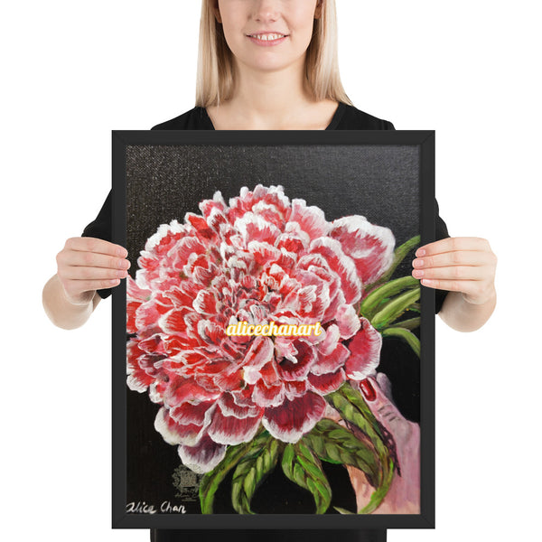 Red Chinese Peony, 2018, Framed Art Print, 2018, Made in USA - alicechanart