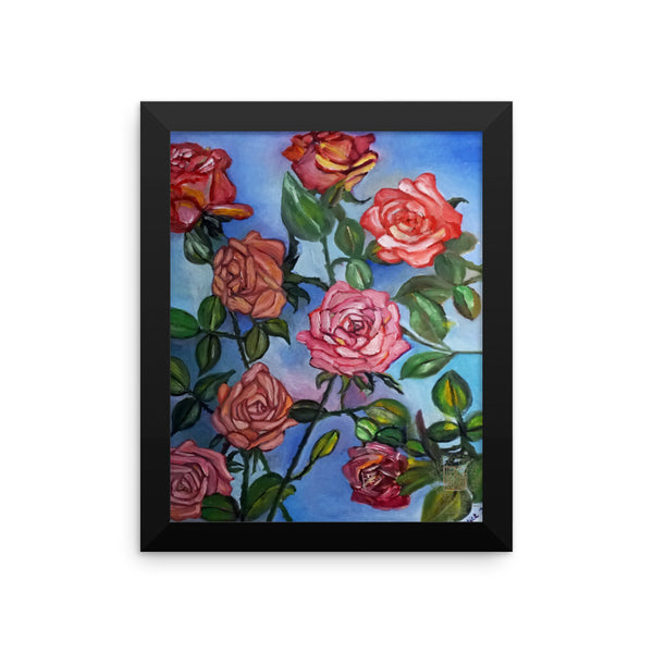 """Pink Roses Floating in Blue Sky"", Framed Photo Paper Poster, Floral Rose Art  Print, Made in USA ""Pink Roses Floating in Blue Sky"", Framed photo paper poster"