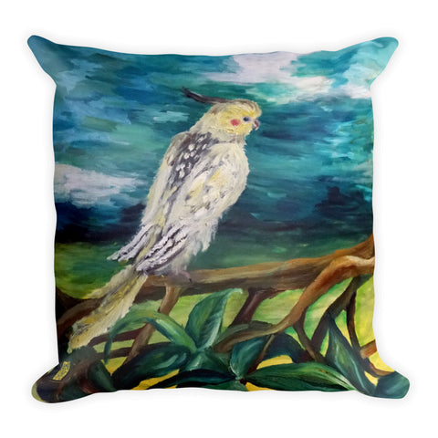 Cockatiel White Parrot Resting On A Tree Branch, Wildlife Bird Basic Pillow. Made in USA - alicechanart