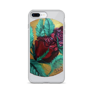 """Red Rose Series Part 1 in Gold"",  iPhone 7/6/7+/ 6/6s/ X/XS/ XS Max/XR Case, Made in USA - alicechanart"