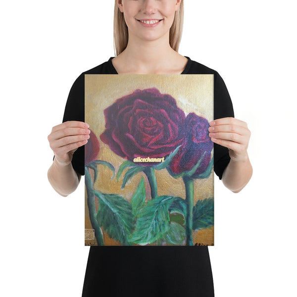 Red Roses in Gold Accent, 2015, Canvas Art Print, Made in USA