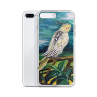 Cockatiel White Parrot Resting On A Tree Branch, iPhone Case, Made in USA - alicechanart