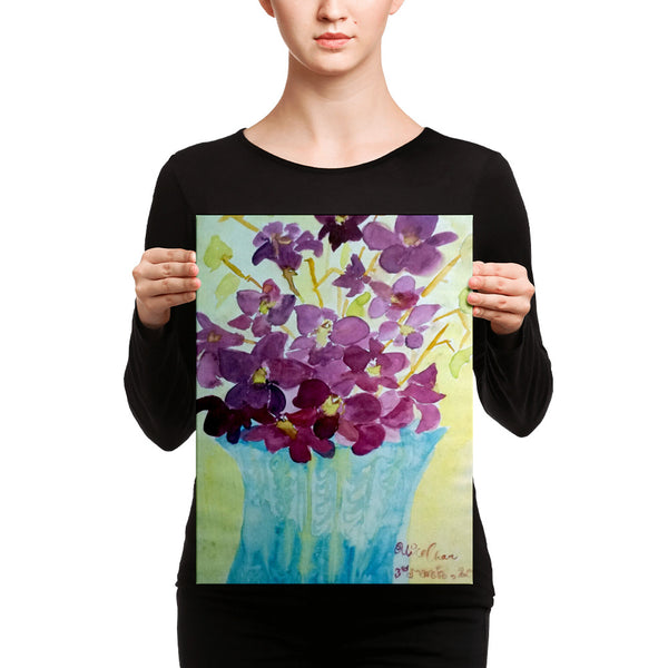 "Curious Exotic Wild Purple Orchids Floral Art Canvas Print at 12""x16"", Made in USA"
