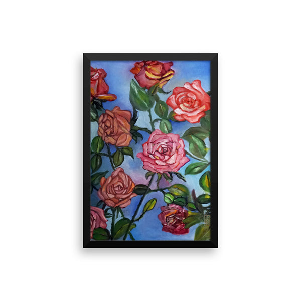 """Pink Roses Floating in Blue Sky"", Framed Photo Paper Poster, Made in USA - alicechanart"