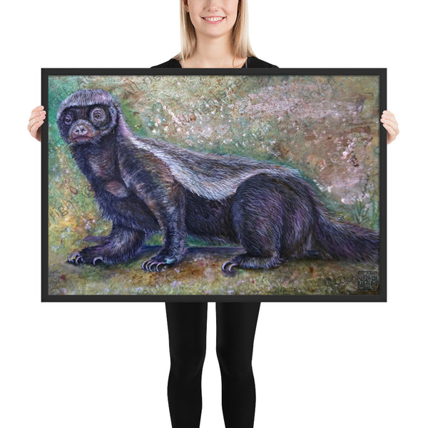 """Jambo - Honey Badger"", 2018, Framed Matte Poster Art Print, Wildlife Animal Art Series, Made in USA ""Jambo - Honey Badger"", 2018, Framed Matte Poster Art Print, Made in USA"