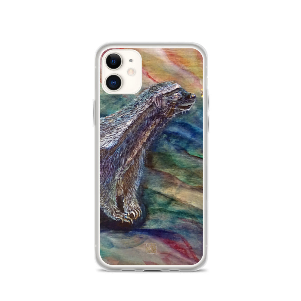 Honey Badger Chasing the Bee, Wildlife Badger Print, iPhone Case- Made in USA/ EU - alicechanart