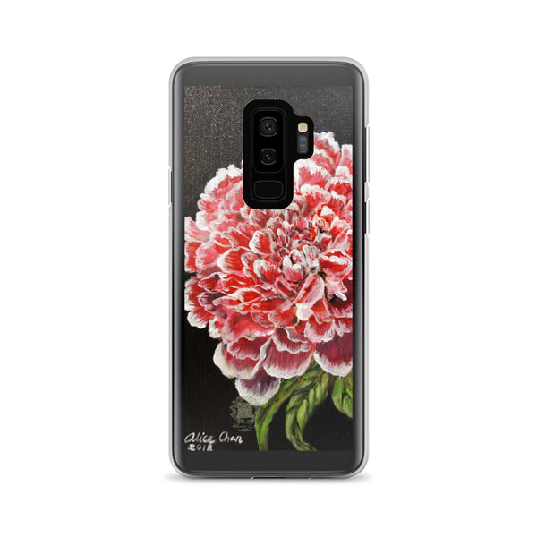 White Red Peony Floral Print, Premium Designer Art Samsung Case- Made in USA/ EU - alicechanart