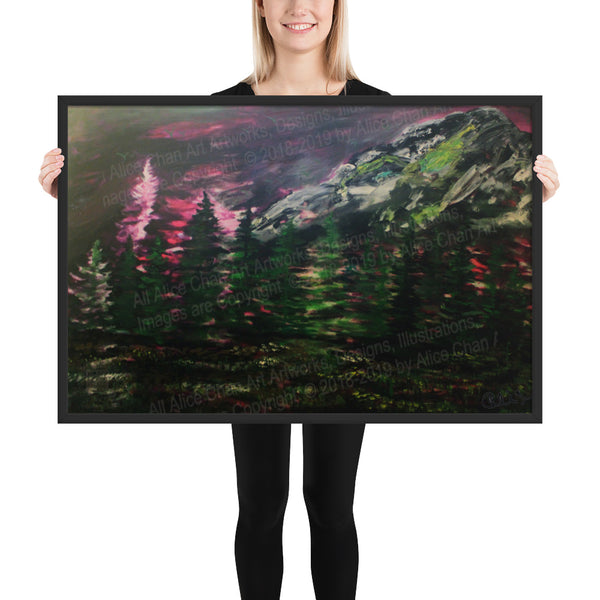 Mount Rainier in Purple Sky, Framed Matte Art Print, Made in USA