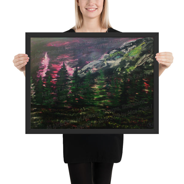 Mount Rainier in Purple Sky, Framed Matte Art Print, Made in USA - alicechanart
