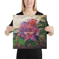 Pink Peony in Gold Accent, Chinese Art Canvas Art Print, 2019, Made in USA - alicechanart