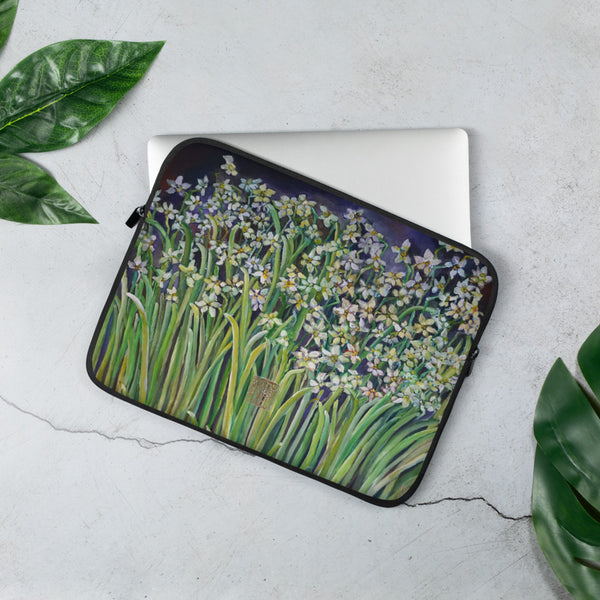 Narcissus Water Lilies, Designer Floral Print Laptop Sleeve - 15 in/ 13 in-Printed in USA/ Europe