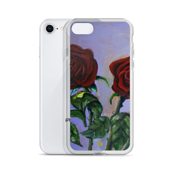 Spring Red Roses in Purple Sky, Floral iPhone 7/6/7+/ 6 / 6s/ X/XS/XS Max/XR Case, Made in USA - alicechanart