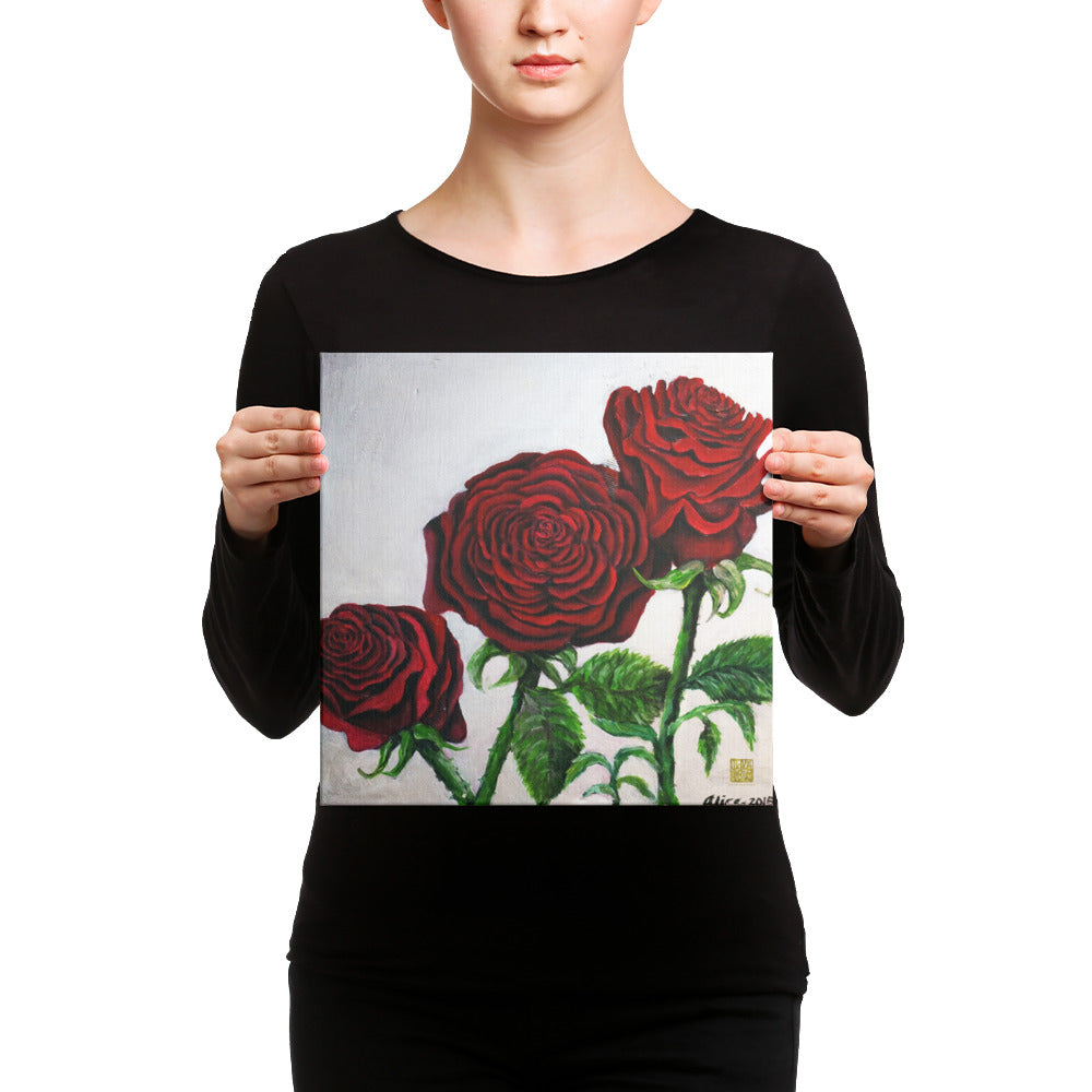 Elegant Triple Red Roses in Silver, Canvas Art Print, Red Rose Floral Fine Art, Made in USA - alicechanart