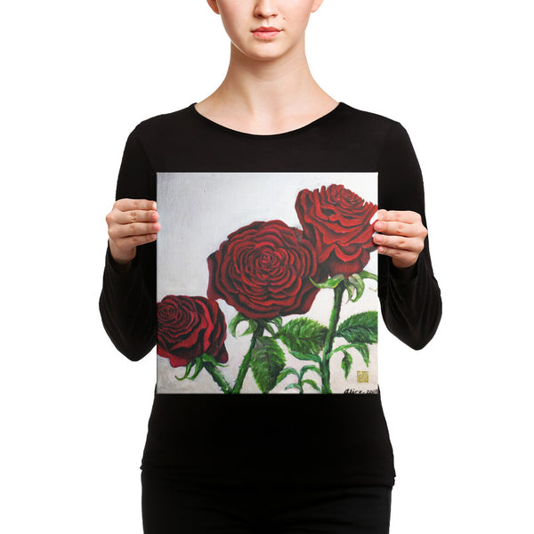 Elegant Triple Red Roses in Silver, Canvas Art Print, Red Rose Floral Fine Art, Made in USA