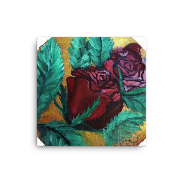 """Japanese Red Roses Series Part 1 in Gold"", Canvas Art Print,  Floral Rose Art,  Made in USA"