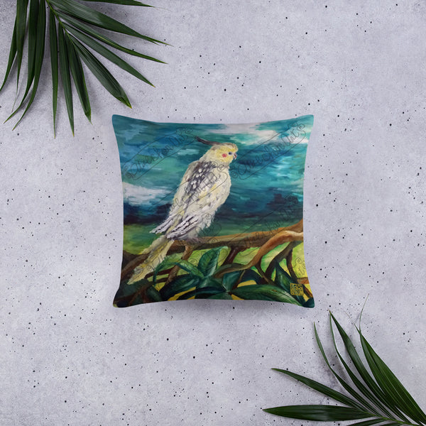 "Cockatiel White Parrot Resting On A Tree Branch, Wildlife Bird Art 18""x18"", 20""x12"" Pillow, Machine Washable, Square/Rectangle, Made in USA"