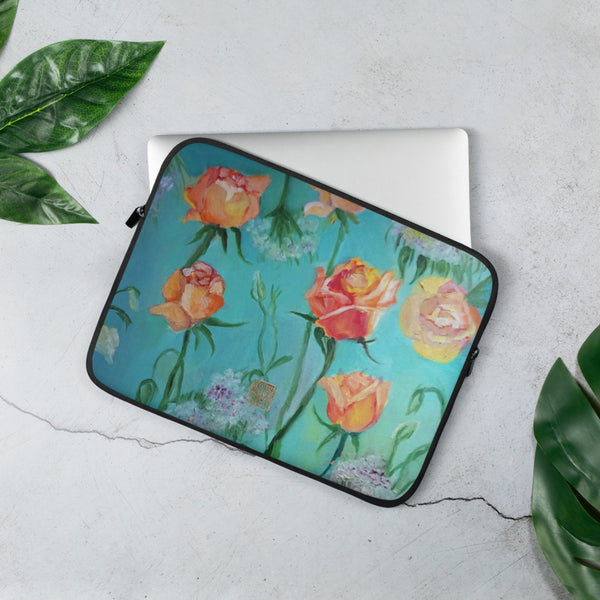 Orange Roses, Designer Floral Print Art Laptop Sleeve - 15 in/ 13 in, Snug Fit Stylish Art Laptop Sleeve-Printed in USA/ Europe
