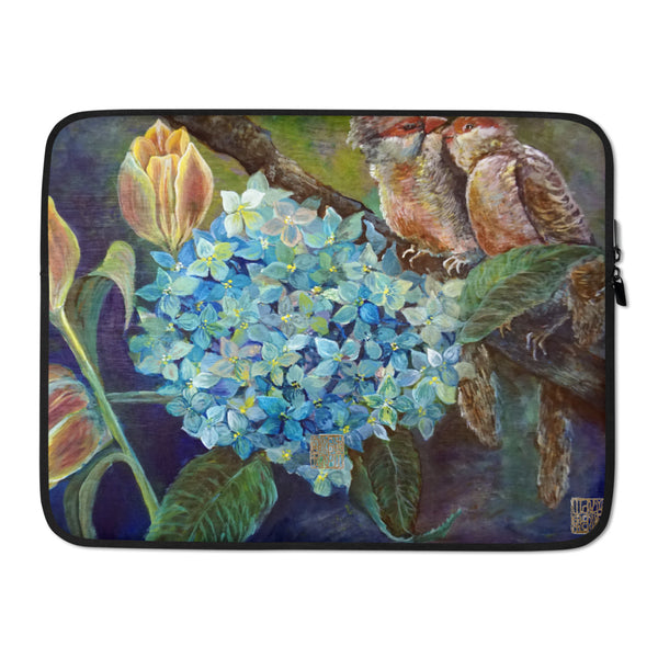 """Morning Chirping Birds"" Cute Floral and Bird Print 13""/ 15"" Art Laptop Sleeve - alicechanart"