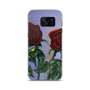 Red Roses in Purple Sky, Floral Samsung Galaxy S7, S7 Edge, S8, S8+, S9, S9+ Phone Case, Made in USA - alicechanart Red Floral Print Phone Case, Red Roses in Purple Sky, Floral Case Samsung Galaxy S7, S7 Edge, S8, S8+, S9, S9+ Phone Case, Made in USA/EU