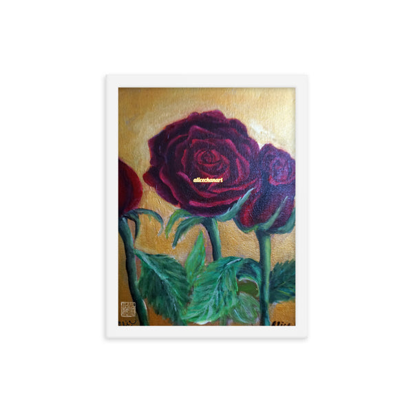 Red Roses in Gold Accent, 2015, Framed Art Print Poster, Made in USA