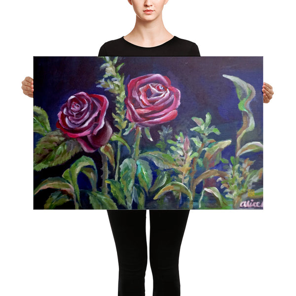 Vampire Roses Floral Red Rose Canvas Art Print, Red Roses Flower Fine Art, Made In USA