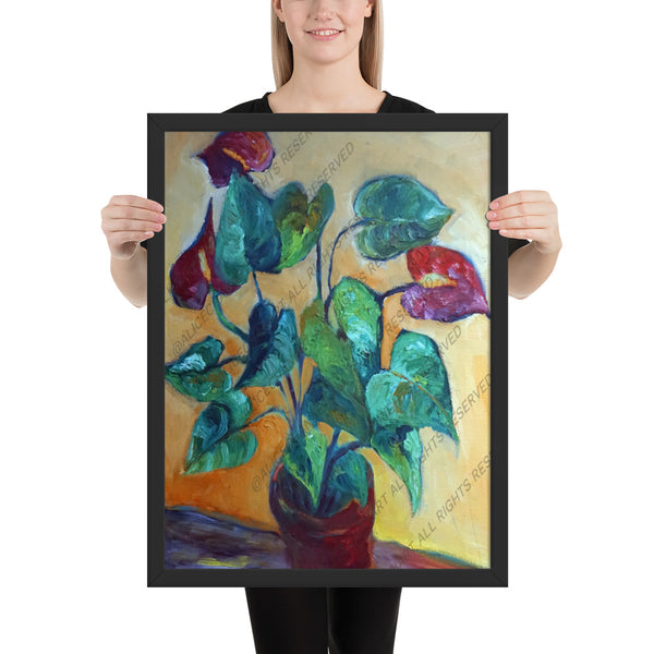 """Red Peace Lily Plant"", Framed Art Print Poster, Made in the USA - alicechanart"