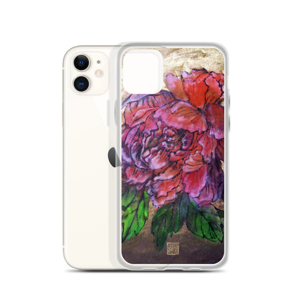 Pink Peony Chinese Floral Art Designer iPhone Case, iPhone 7/6/7+/ 6/6s/ X/XS/ XS Max/ XR/ 11/ 11 Pro/ 11 Pro Max Phone Case, Made in USA