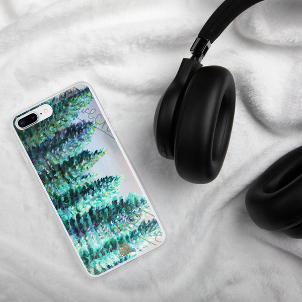"""Trees in Golden Sky"", Pine Tree Seattle iPhone Phone Case, Made in USA - alicechanart"