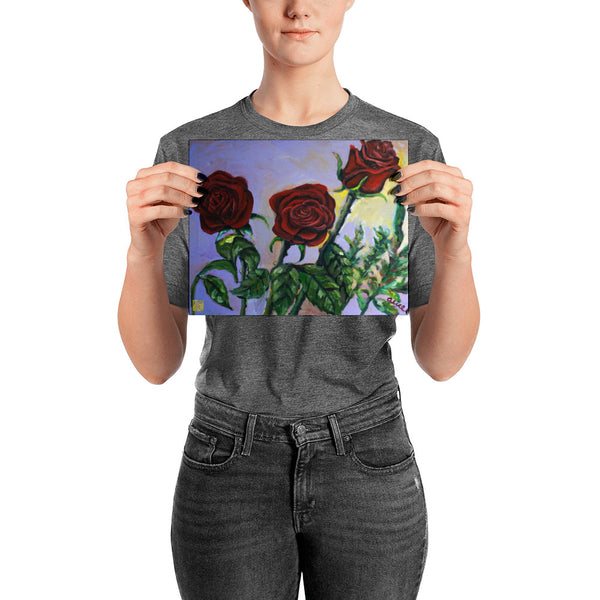 Summer Red Roses in Purple Sky, Floral Poster Art Print, Made in USA