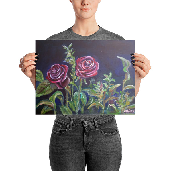 Vampire Red Rose Floral Drawing Poster Art Print, Made In USA - alicechanart
