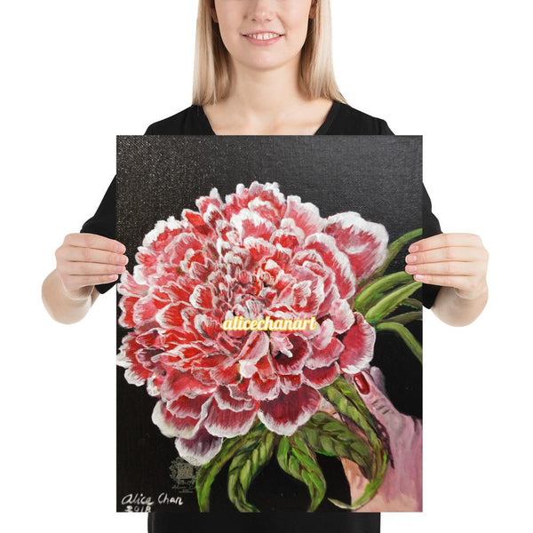Red Chinese Peony, 2018, Art Print Poster, Made in USA