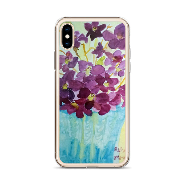 """Curious Exotic Wild Purple Orchids"" Clear Floral iPhone Phone Case, Made in USA - alicechanart v"