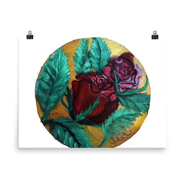 """Red Rose Series Part 1 in Gold"", Photo Paper Poster, Made in USA - alicechanart"