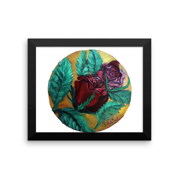 """Red Rose Series Part 1 in Gold"", Framed photo paper poster, Made in USA"