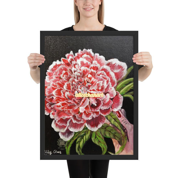 Red Chinese Peony Framed Art Print, 2018, Made in USA