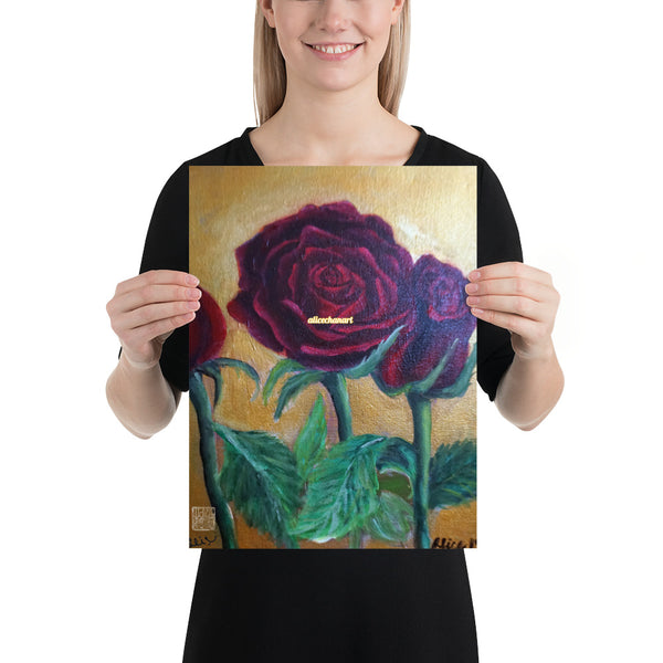 Red Roses in Gold Accent, 2015, Poster Art Print, Made in USA